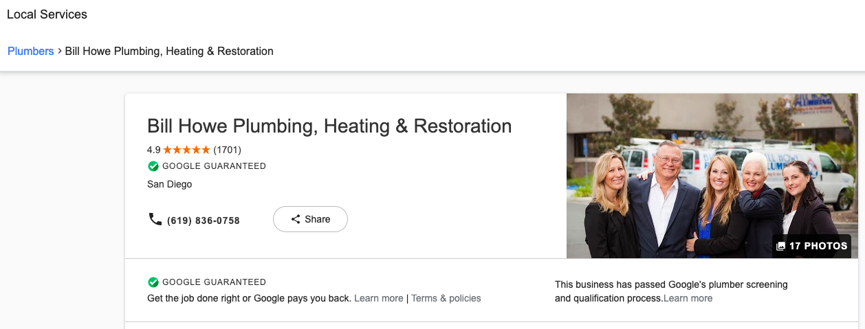Plumber ad on Google