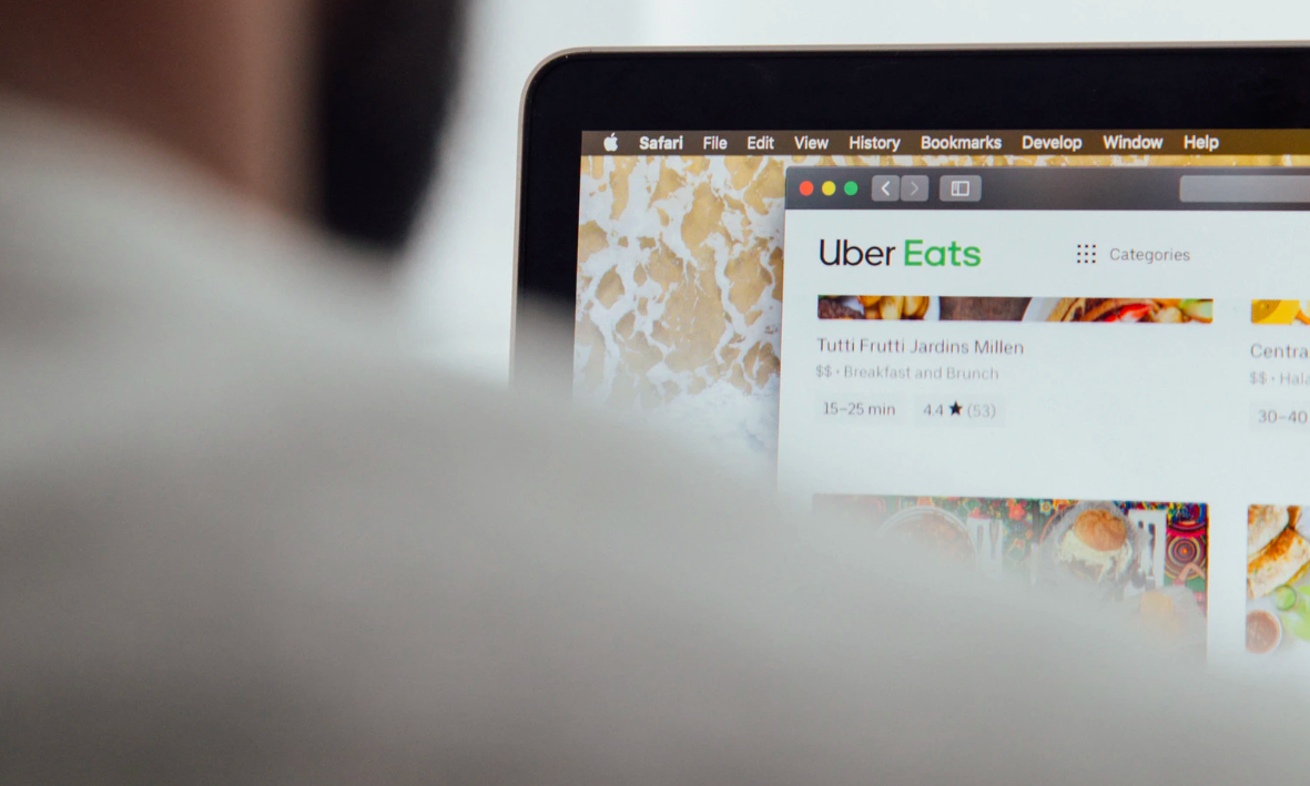 Uber Eats selection on laptop