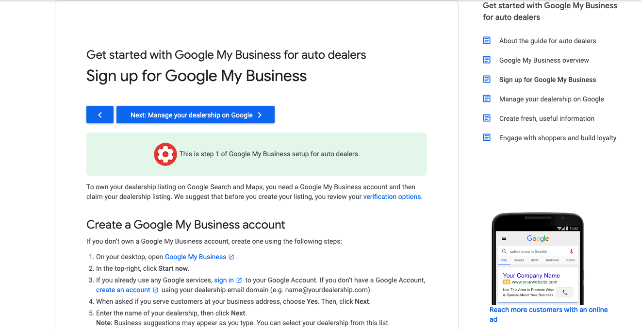 Google Business auto dealers